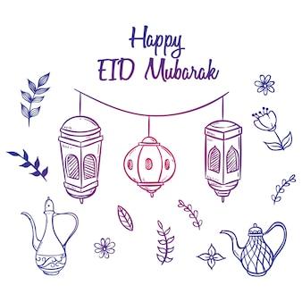 Eid mubarak salutation ou icônes avec la main dessinée ou art de griffonnage