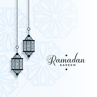 Eid ramadan kareem arabe avec décoration de lampes