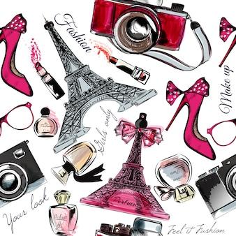 Eiffel fond de la tour et des objets de mode dessinés à la main