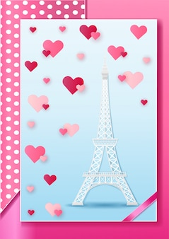 Eiffel france paris et nuage sur coeur rose