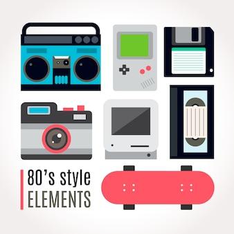 Eighties technologique collection d'accessoires avec planche à roulettes