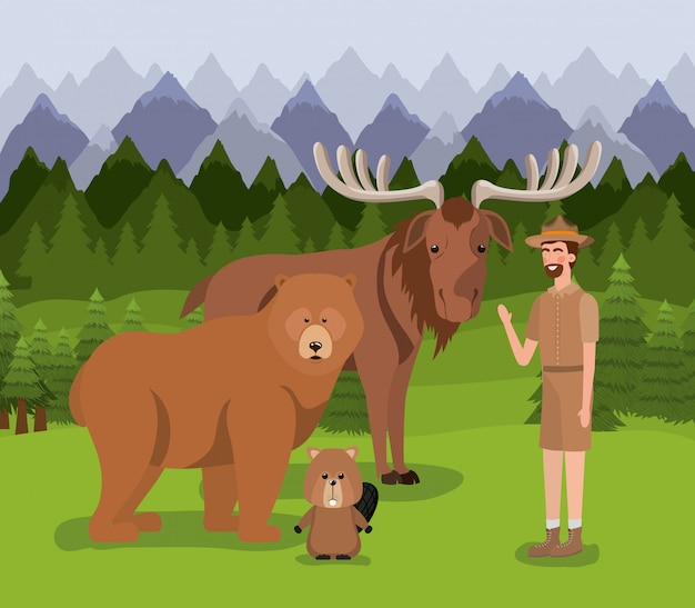 Élan ours castor et ranger