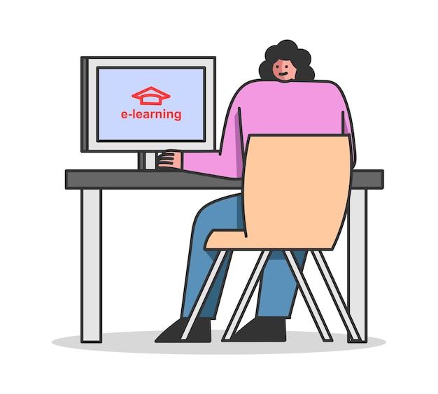 Elearning online woman suit un cours d'auto-éducation en ligne