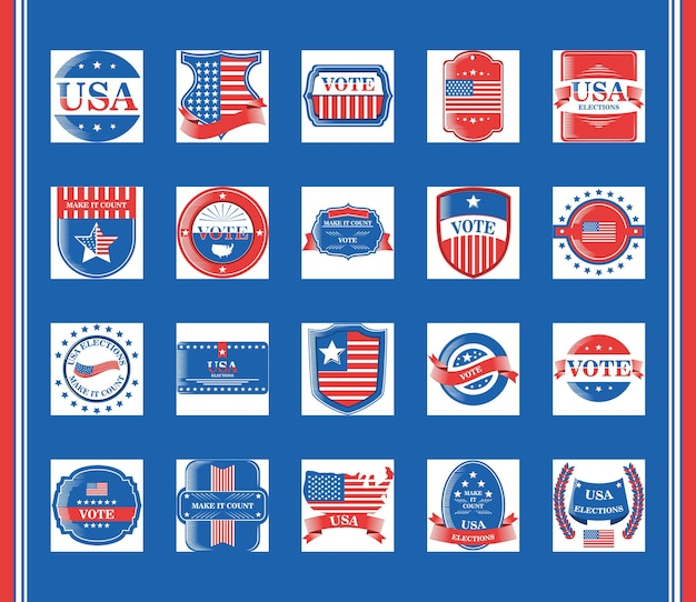 Élections aux états-unis et vote ensemble de style détaillé de conception d'icônes, journée des présidents