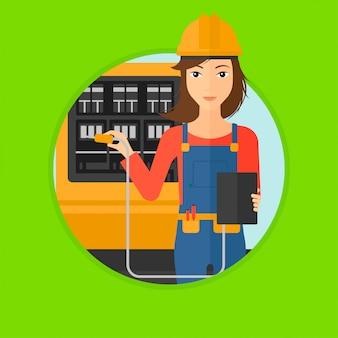 Électricien avec équipement électrique.