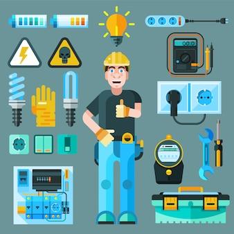 Électricien icons set