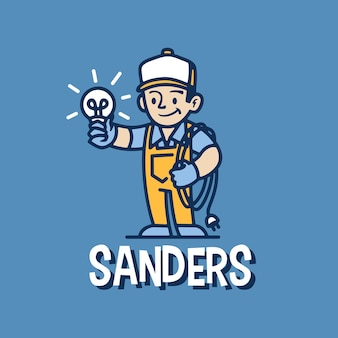 Électricien mascotte rétro dessin animé logo icône illustration