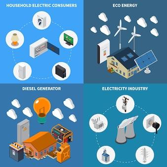 Electricité consommation domestique approvisionnement éco énergie et diesel générateurs industriels concept 4 compositions isométriques