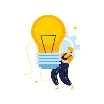 Électricité et éclairage plat illustration dans un style plat avec caractère d'électricien tenant une grande ampoule de lampe