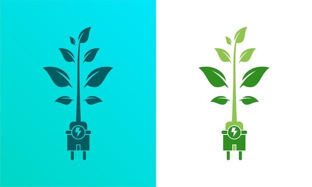 Électricité d'énergie verte, signe d'icône de prise électrique avec le vecteur de câble et de feuille illustration