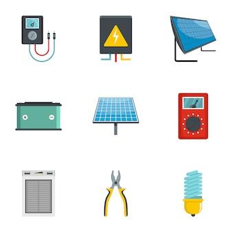 Électricité outil icônes définies, style de bande dessinée