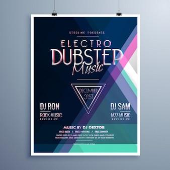 Electro music party flyer template d'événement