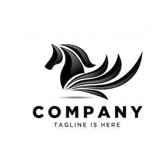 Élégant art abstrait pegasus logo
