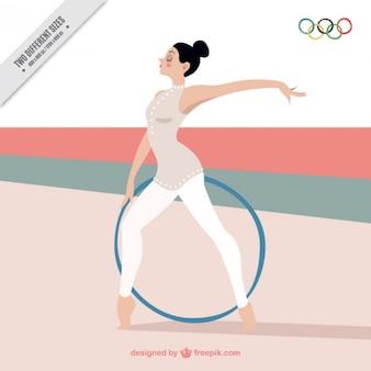 Elegant background avec une fille faisant gymnastique rythmique
