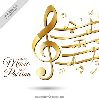 Elegant background avec les notes musicales d'or