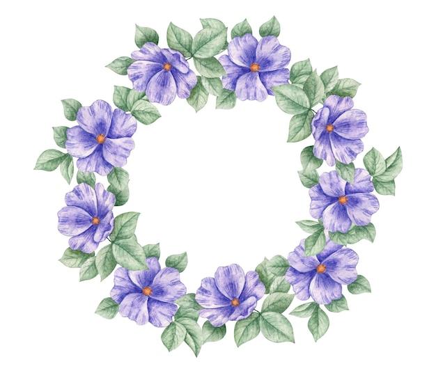 Élégant beau cadre floral violet aquarelle