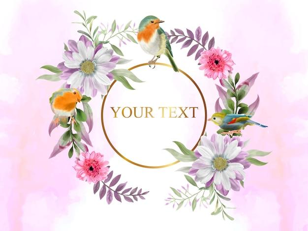 Élégant et beau floral et oiseaux dessinés à la main avec anneau doré