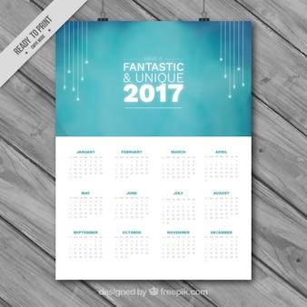 Elégant bleu 2017 calendrier