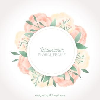 Élégant cadre floral aquarelle