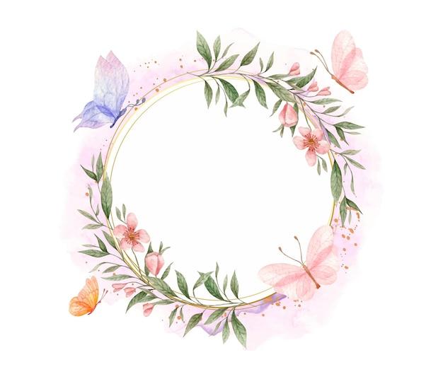 Élégant cadre floral en fleurs printanières avec des papillons