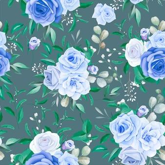 Élégant cadre floral modèle sans couture fleur bleue