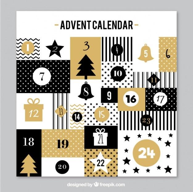 Elégant calendrier de l'avent d'or dans le style vintage