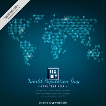 Élégant carte fond bleu de la journée de la population