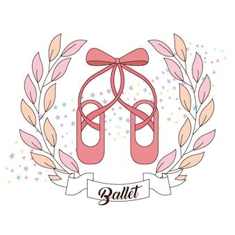 Élégant Des Chaussures De Ballet Rose Avec Ruban Vecteur Premium
