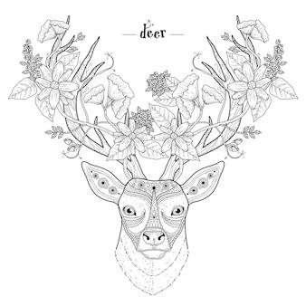 Élégant coloriage de tête de cerf dans un style exquis