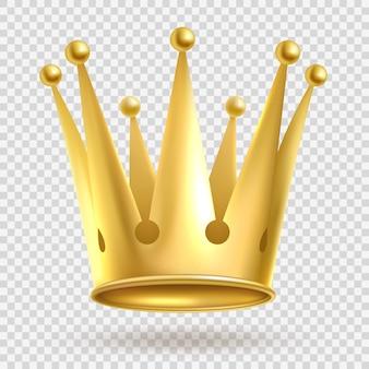 Élégant couronnement royal en métal doré sur fond transparent