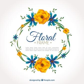 Élégant design de cadre floral circulaire