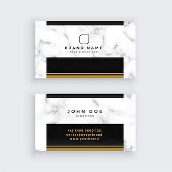 Élégant design de carte de visite en marbre noir et or