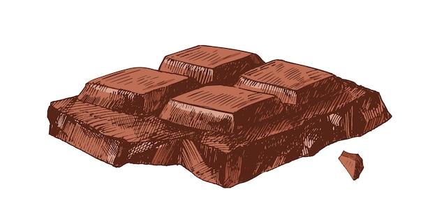 Élégant dessin réaliste détaillé d'une partie de la barre de chocolat cassée