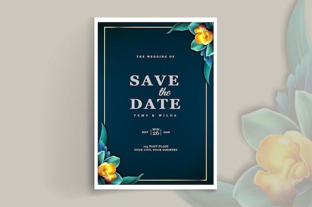 Élégant enregistrer la conception de carte d'invitation de mariage date