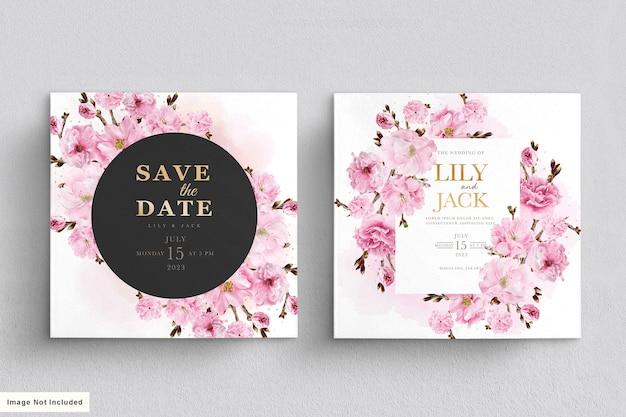 Élégant ensemble de cartes d'invitation de mariage aquarelle fleur de cerisier