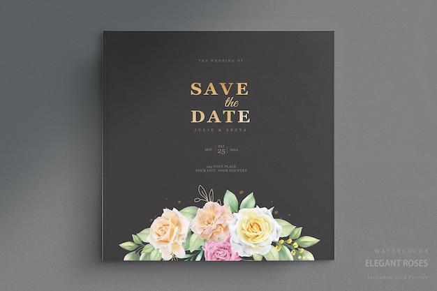 Élégant ensemble de cartes d'invitation de mariage floral aquarelle