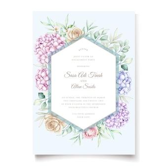 Élégant ensemble de cartes d'invitation de mariage floral hortensia aquarelle