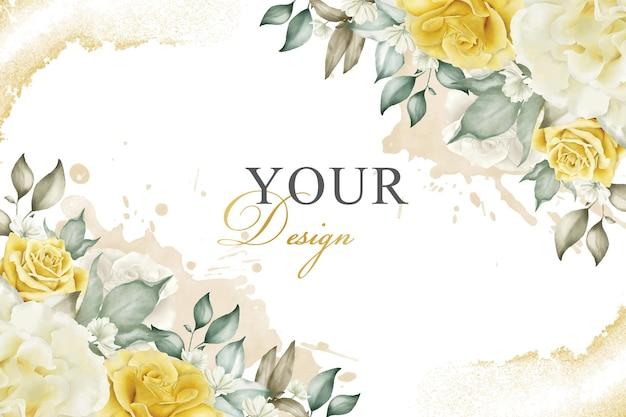 Élégant fond d'arrangement floral dans le thème jaune