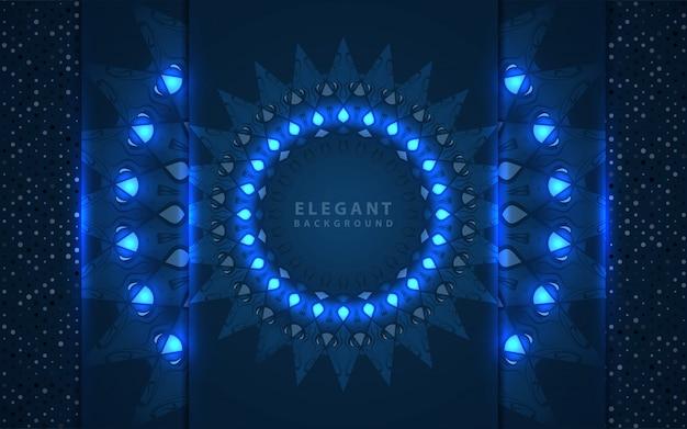 Élégant fond bleu classique avec décoration de mandala