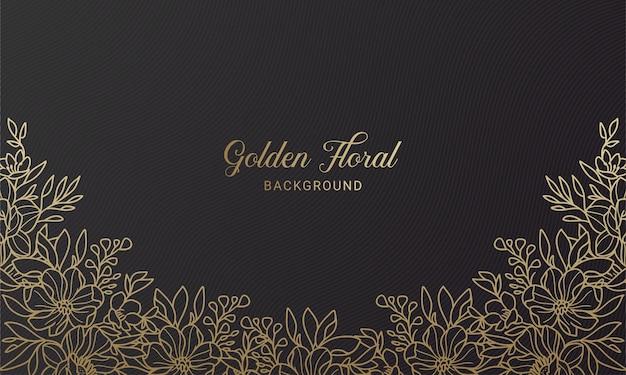 Élégant fond de feuille de plante floral noir et or dessiné à la main