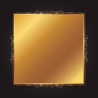 Élégant fond or et noir avec un cadre décoratif