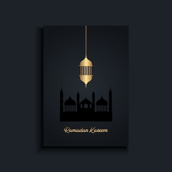 Élégant fond de ramadan kareem avec lanterne suspendue en or