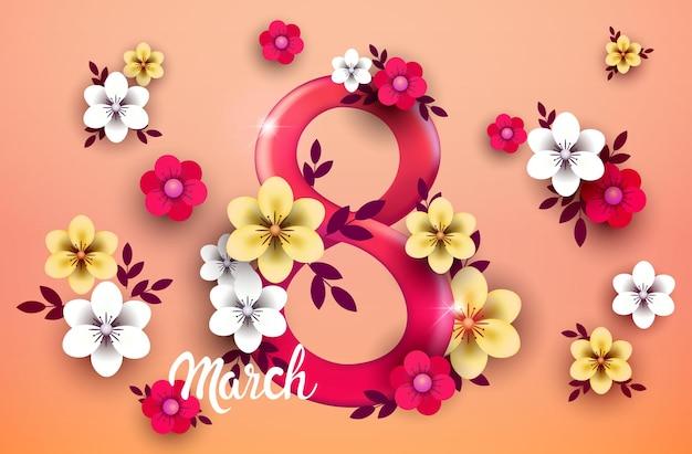 Élégant huit numéro jour des femmes 8 mars flyer de bannière de célébration de vacances ou carte de voeux avec illustration horizontale de fleurs