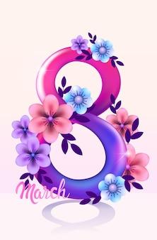 Élégant huit numéro jour des femmes 8 mars flyer de bannière de célébration de vacances ou carte de voeux avec illustration verticale de fleurs