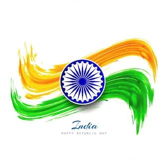 Elégant indian drapeau fond d'aquarelle
