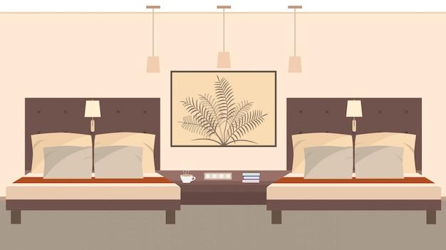 Élégant intérieur de chambre d'hôtel pour deux personnes avec lits, lampe