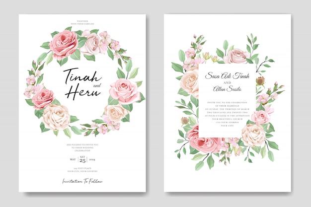 Élégant invitation de mariage designg avec de belles fleurs