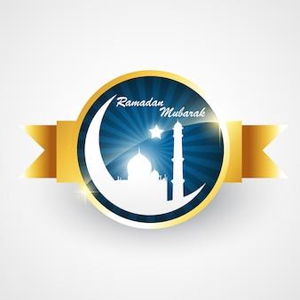 Élégant islamique ramadan étiquette illustration vectorielle