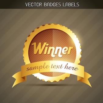 Élégant label gagnant d'or