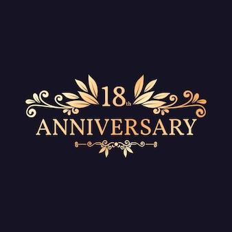 Élégant logo doré du 18e anniversaire
